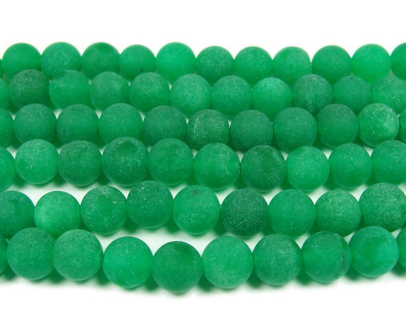 8mm  15.5 inches Green jade matte round beads