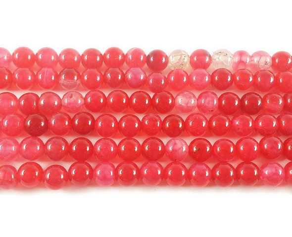 6mm Watermelon Red Agate Round Beads