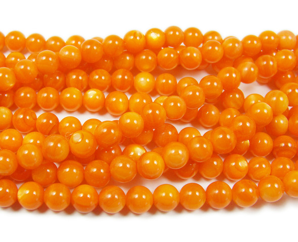6mm 16 Inches Mother Of Pearl Dark Orange Round Beads
