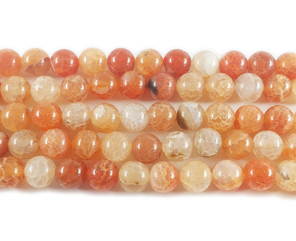 10mm Light orange cracked fire agate round beads