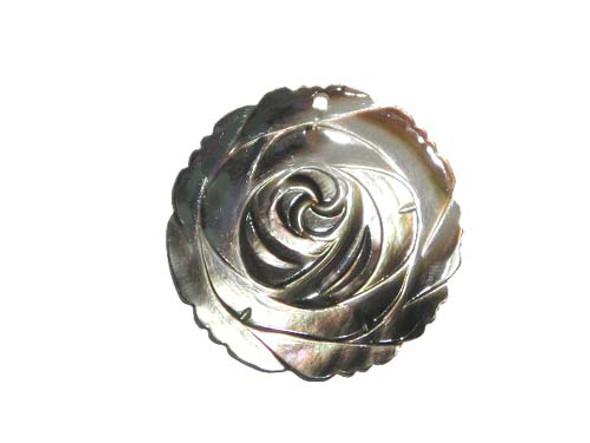 40mm Black sea shell rose pendant