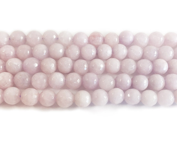 8mm Pale purple jade faceted round beads