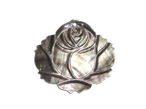 45x47mm Black Sea Shell Carved Rose Pendant