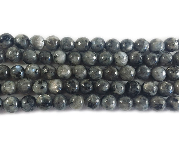 8mm Kiwi Silver Gray Jade Faceted Round Beads