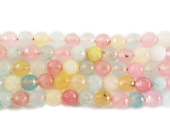 8mm Multi Color Yellow Blue Pink Jade Faceted Round Beads
