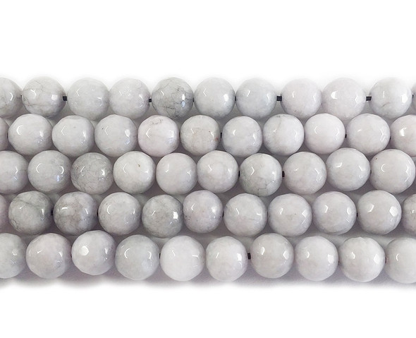 8mm Pale gray jade faceted round beads