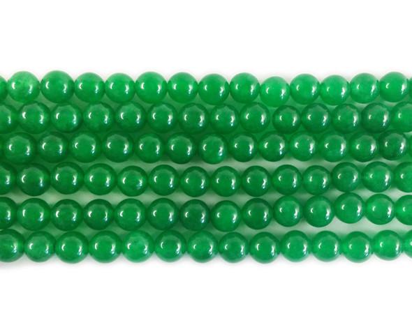 6mm Emerald green jade round beads