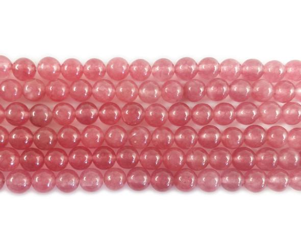 6mm Watermelon red jade round beads