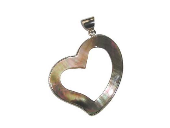 42x45mm Black shell fancy heart pendant