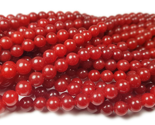 8mm Ruby red jade round beads