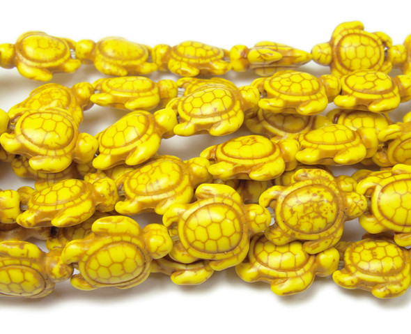14x17mm 25 Beads Yellow Howlite Carved Swimming Sea Turtle Beads