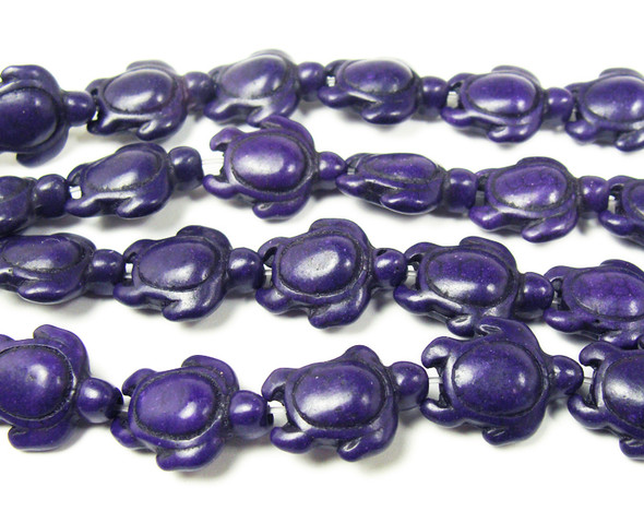 14x17mm 23 Beads Dark Purple Howlite Carved Swimming Sea Turtle Beads