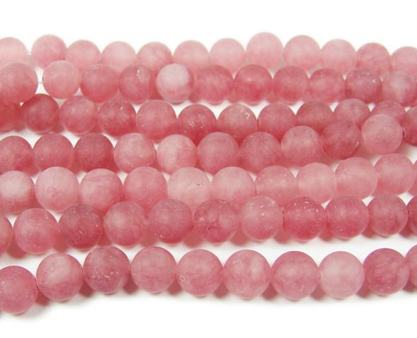 8mm 15.5 Inches Light Salmon Pink Jade Matte Round Beads