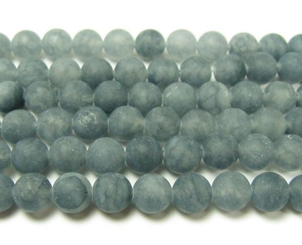 8mm 15.5 Inches Slate Gray Jade Matte Round Beads
