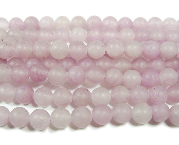 8mm  15.5 inches Light lilac jade matte round beads