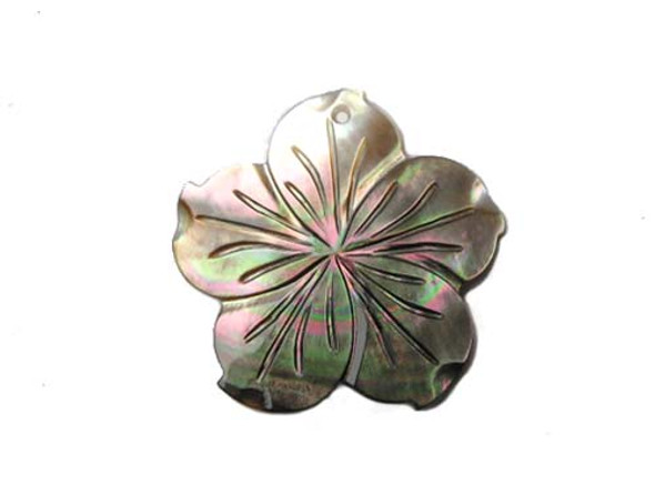 48mm Black Sea Shell Flower Pendant