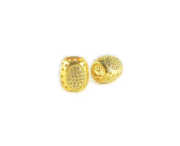 10x11mm  pack of 2 Gold decorated barrel CZ metal beads