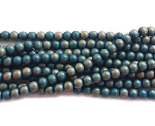 6mm Multicolor White Blue Hematite Matte Round Beads