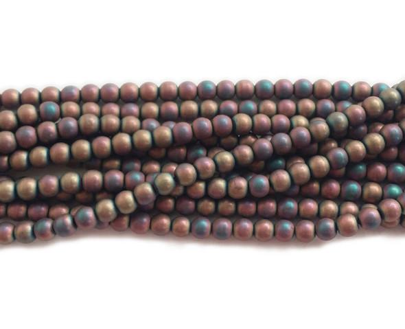 6mm Red Rainbow Hematite Matte Round Beads