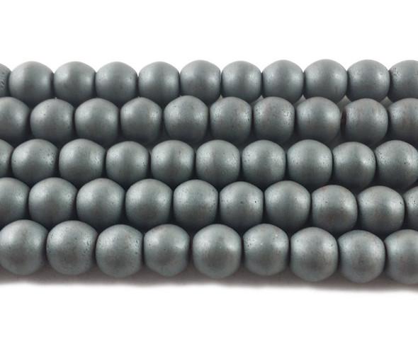 6mm Dark Gray Hematite Matte Round Beads