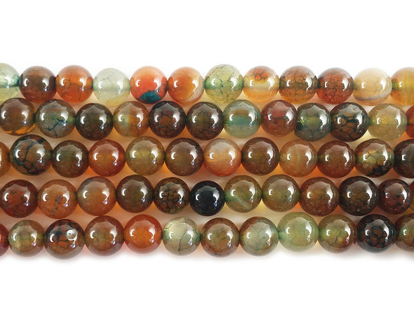 8mm Multicolor Autumn Red And Green Fire Agate Round Beads