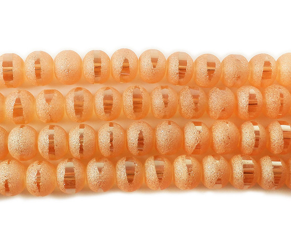 5x6mm 100 Beads Orange Frosted Glass Rondelles With Ab Stripe