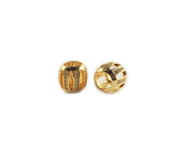 10x11mm  priced for one bead Gold and CZ metal pumpkin barrel beads