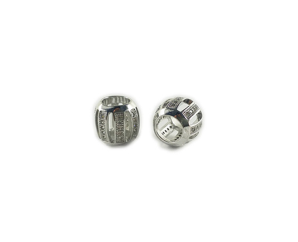 10x11mm  priced for one bead Silver and CZ metal pumpkin barrel beads