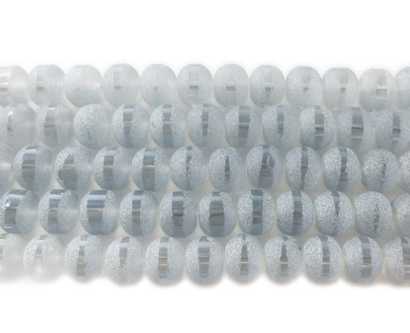 9x11mm 72 Beads Light Gray Frosted Glass Rondelles With Ab Stripe Style B