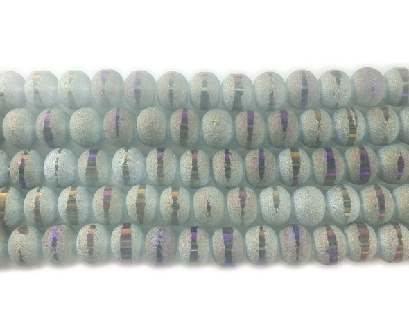 9x11mm 72 Beads Light Gray Frosted Glass Rondelles With Ab Stripe Style C