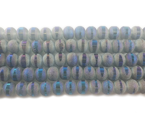 9x11mm 72 Beads Blue Frosted Glass Rondelles With Ab Stripe Style G