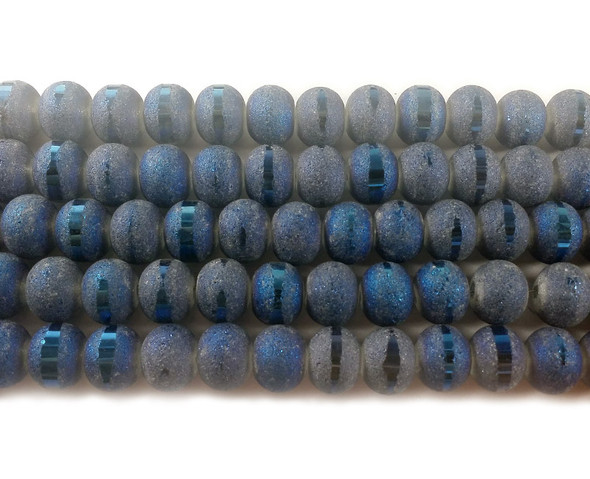 5x6mm 100 Beads Blue Frosted Glass Rondelles With Ab Stripe Style D