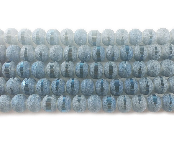 5x6mm 100 Beads Blue Frosted Glass Rondelles With Ab Stripe Style E