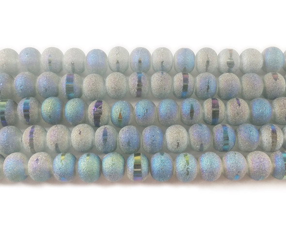 9x11mm 72 Beads Light Gray Frosted Glass Rondelles With Ab Stripe Style F
