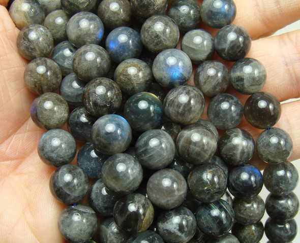 10-11mm Labradorite Round Beads With Blue Iridescence