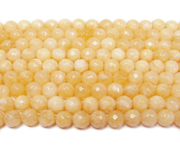 6mm Khaki Yellow Jade Faceted Round Beads