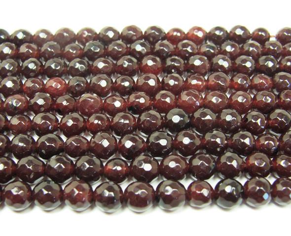 6mm Dark red jade faceted round beads
