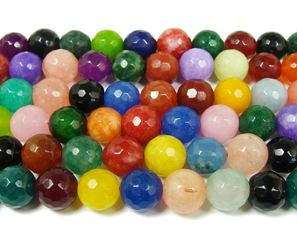 12mm  15 inches Multicolor jade faceted round beads