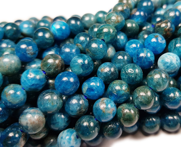7.8mm  15.5 inches Natural blue apatite smooth round beads
