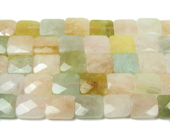 8.5x10mm Pink Morganite Multi Faceted Rectangle Beads