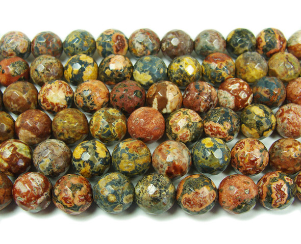 10mm Red Leopard Skin Jasper Faceted Round Beads