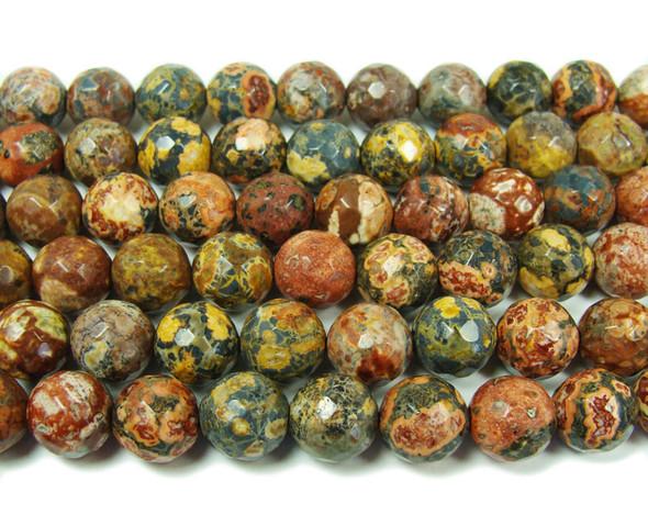 12mm Red Leopard Skin Jasper Faceted Round Beads