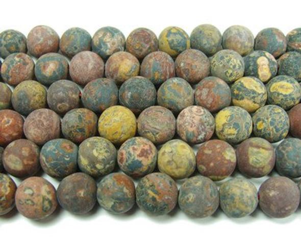 10mm Dark Red Leopard Skin Jasper Matte Round Beads