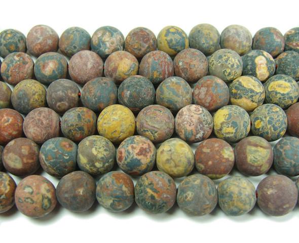 12mm Red Leopard Skin Jasper Matte Round Beads