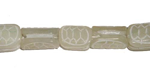 10x16mm 25 Beads Antiqued Jade Carved Turtle Back Beads