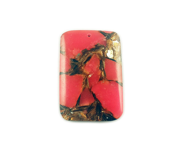 32x48mm Red bronzite and imperial jasper rectangle pendant