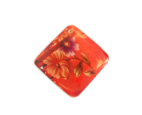 65x65mm Red MOP painted shell rectangle pendant