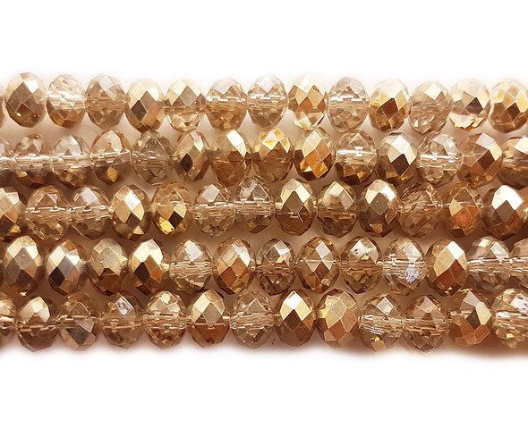 """8x10mm  72 beads  22"""" Smoke and gold glass faceted rondelle beads with AB finish"""