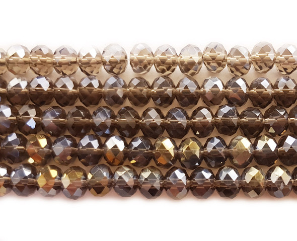 6x8mm  72 beads Smoky with AB glass faceted rondelle beads