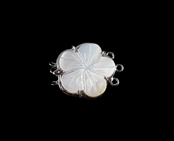 23mm Mop White Shell Carved Rose Flower Triple-Strand Clasp